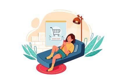 Buy Product using digital wallet Illustration