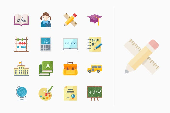 Thumbnail for Flat Education Icons - Set 1