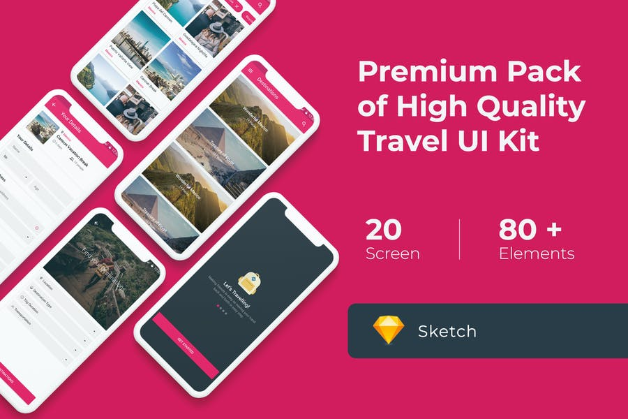 Premium Travel UI KIT for Sketch