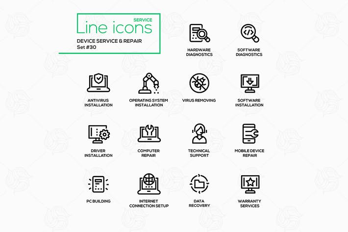 Thumbnail for Device service & repair - vector line icons set