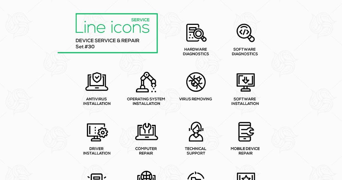 Download Device service & repair - vector line icons set by BoykoPictures