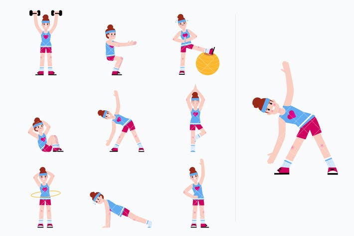 Thumbnail for Woman doing a series of exercises. Workout routine