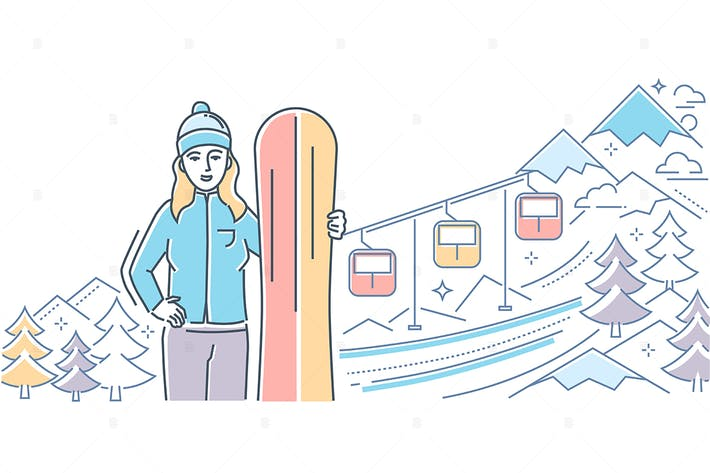 Thumbnail for Ski resort - line design style illustration
