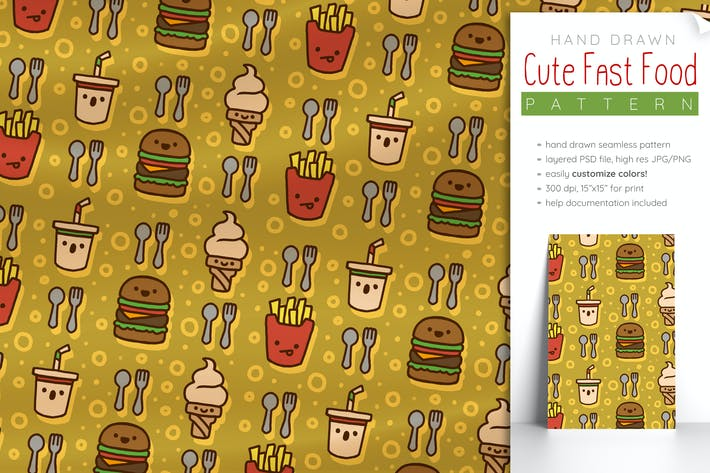 Thumbnail for Fast-Food-Muster (Nette nahtlose Lebensmittel-Muster)