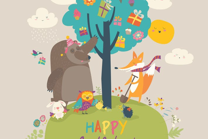 Thumbnail for Cartoon animals celebrating Birthday in the forest