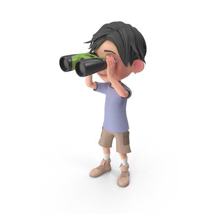Cartoon Boy Jack Blick durch Fernglas