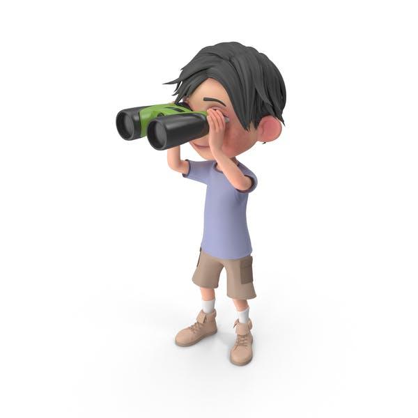 Thumbnail for Cartoon Boy Jack Looking Through Binoculars
