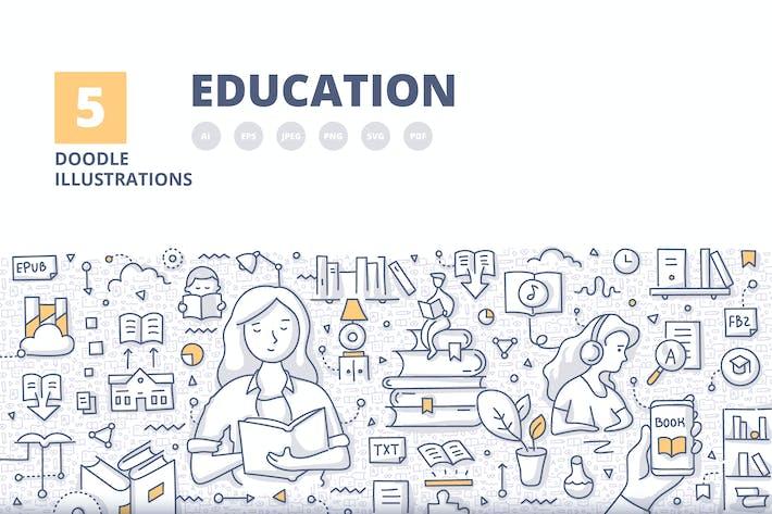 Thumbnail for 5 Education Doodle Banner Concept