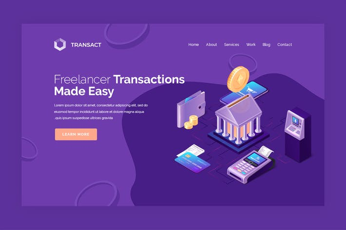 Thumbnail for Transact - Hero Banner Web Page Template