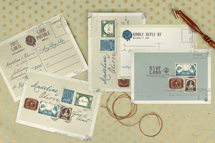 Thumbnail for Vintage Stamp Wedding Invitation
