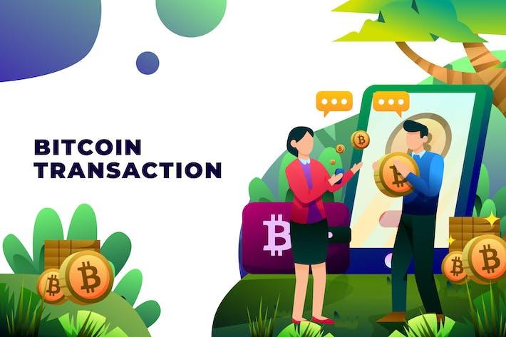 Bitcoin Transaction - Vector Illustration