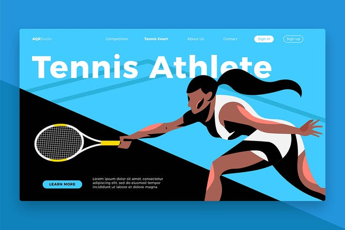 Thumbnail for Tennis Athlete - Banner & Landing Page