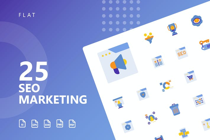 Thumbnail for SEO Marketing Flat Icons