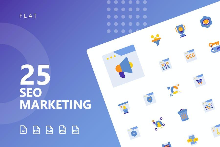SEO Marketing Flache Icons