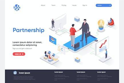 Partnership Isometric Landing Page Template