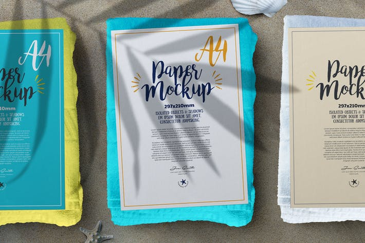 Thumbnail for A4 Paper Flyer Poster Summer Sand Beach Mockup