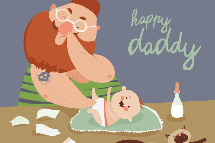 Thumbnail for Funny dad changing diaper baby. Vector