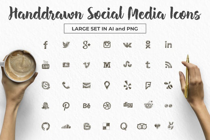 Thumbnail for Social Media Icons Large Set