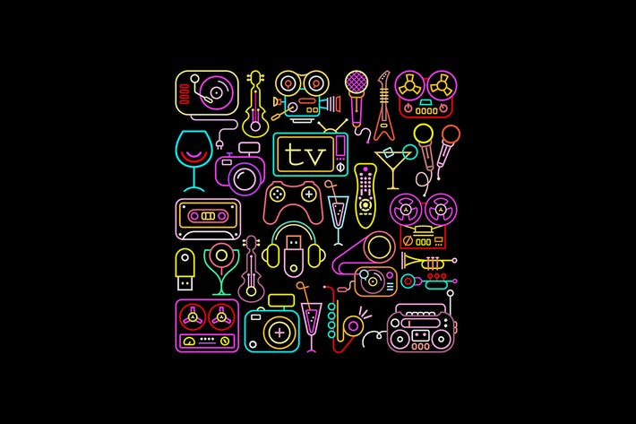 Thumbnail for Neon Colors Entertainment Icon Set