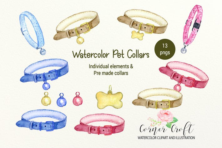 Thumbnail for Watercolor Pet Collar Clipart