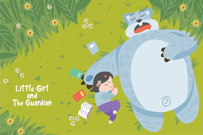 Thumbnail for Girl and The Guardian - Vector Illustration