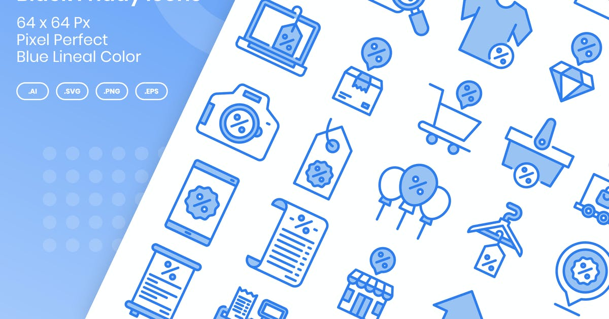 Download 40 Black Friday Icons Set - Blue Lineal Color by kmgdesignid