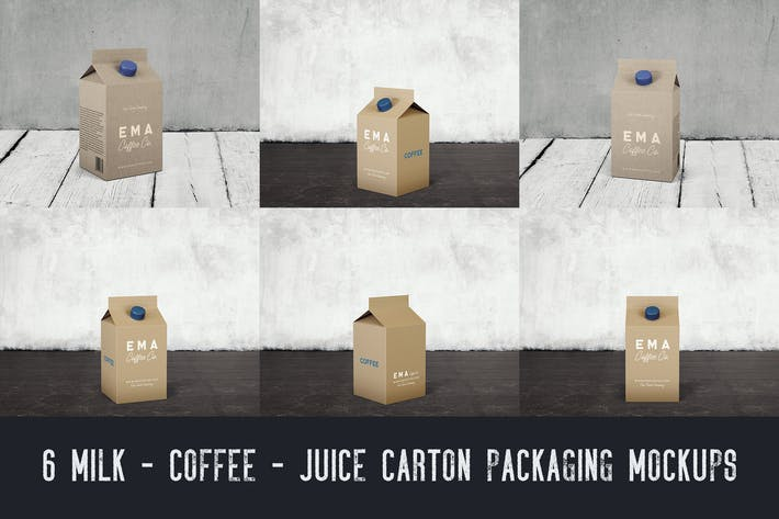 Cover Image For 6 Milk Coffee Juice Carton Packaging Mockups1
