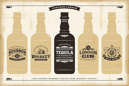 Vintage-Alkohol-LabelSammlung