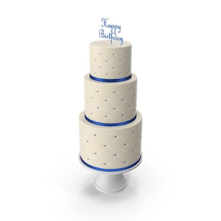 Cascade Kuchen mit Dekor aus blauem Band und Topper Happy Birthday