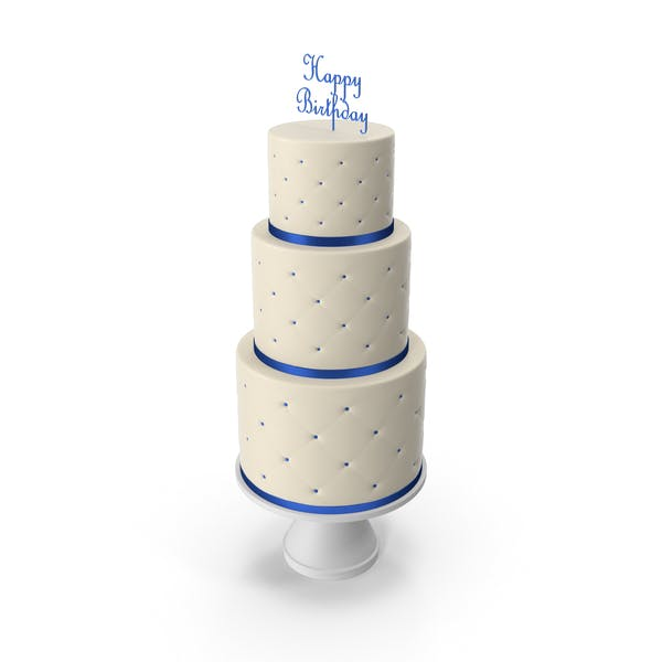 Thumbnail for Cascade Cake with Decor of Blue Ribbon and Topper Happy Birthday