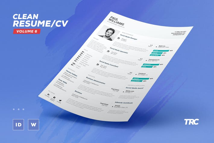 Thumbnail for Clean Resume/Cv Template Volume 6