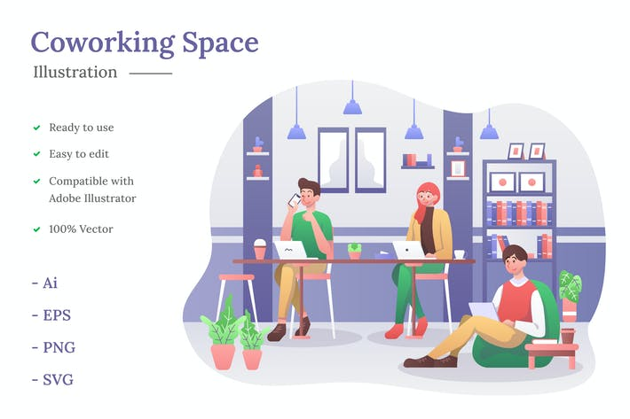 Thumbnail for Coworking Space Illustration