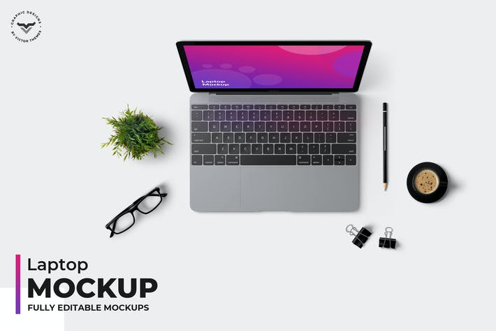 Thumbnail for Laptop Top View Mockups