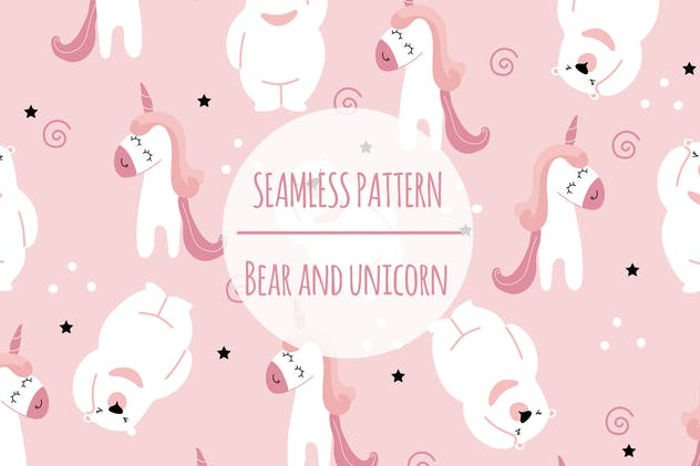 Bear And Unicorn – Seamless Pattern - product preview 0