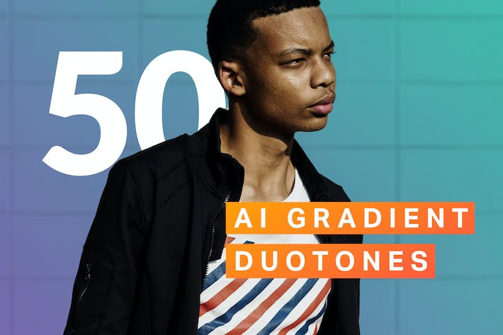 50 AI Gradient Duotone Actions