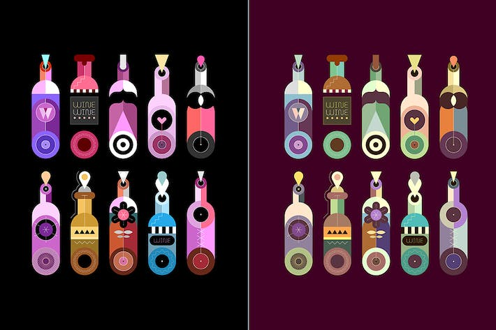 Thumbnail for 2 options of Wine Bottles vector illustration