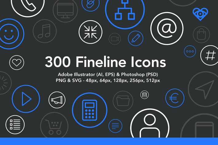 Cover Image For 300 Fineline Icons