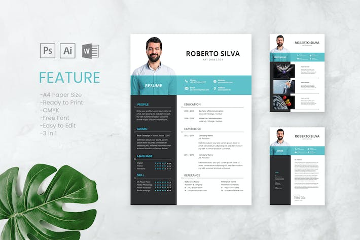 Cover Image For Professional CV And Resume Template Roberto