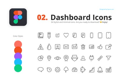 36 Minimal Dashboard Icons