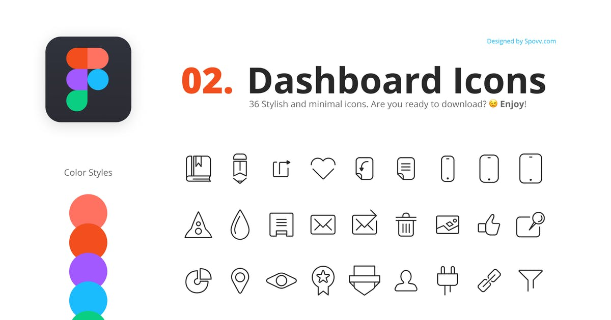 Download 36 Minimal Dashboard Icons by spovv