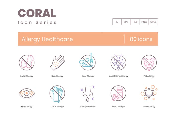 Thumbnail for 80 Allergy Healthcare Line Icons