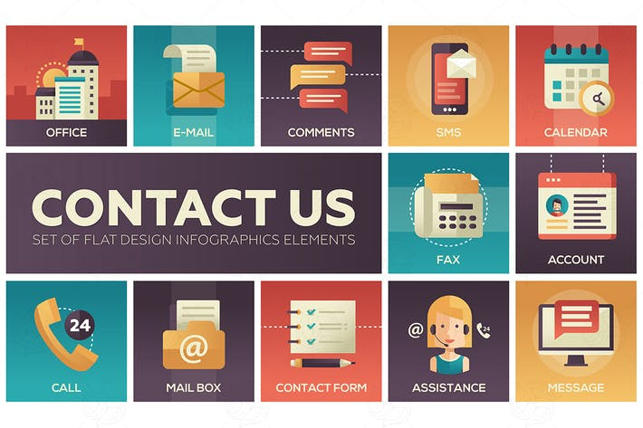 Thumbnail for Contact Us - vector modern flat design icons set