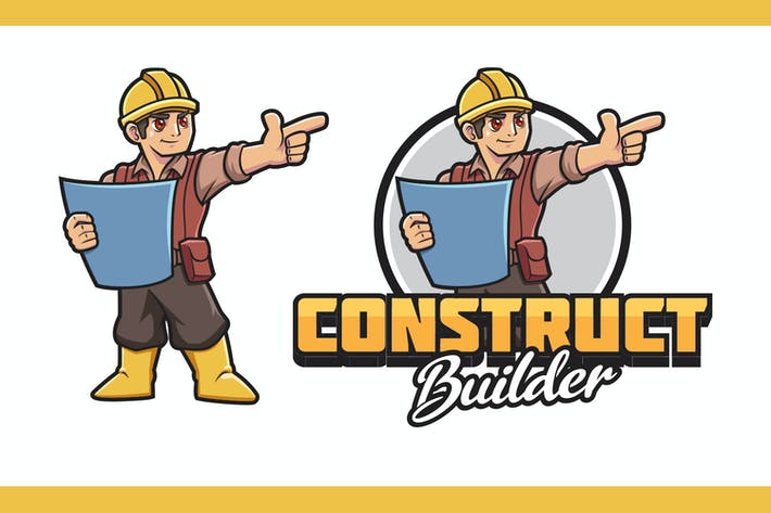 Thumbnail for Cartoon Contractor Mascot Logo