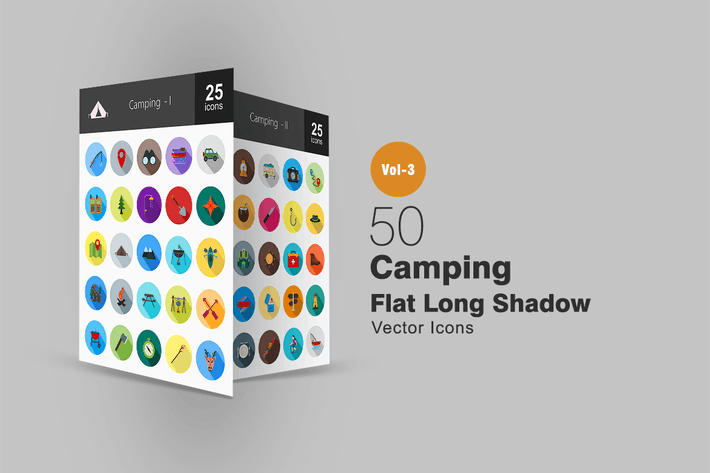 Thumbnail for 50 Camping Flat Shadowed Icons
