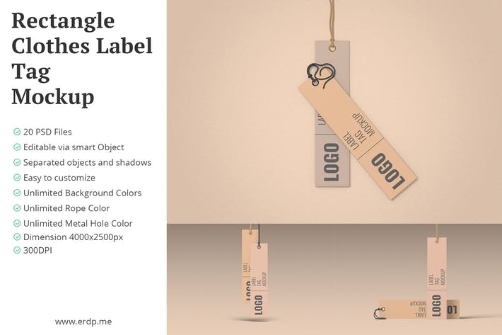 Thumbnail for Rectangle Clothes Label Tag Mockup 20 PSD Files