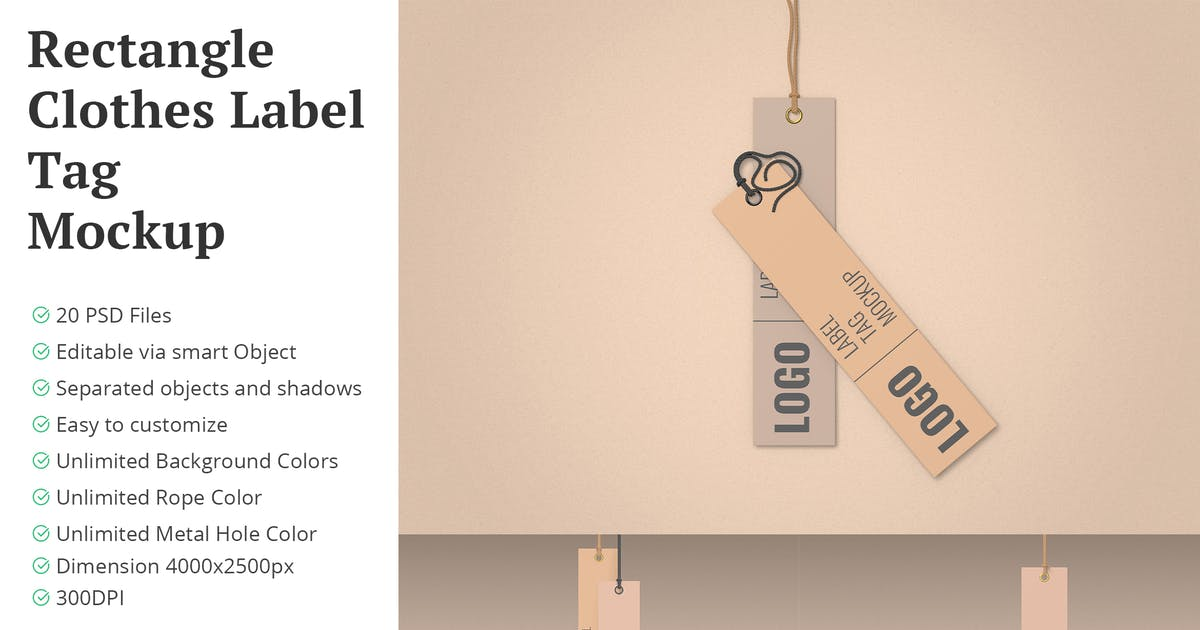 Download Rectangle Clothes Label Tag Mockup 20 PSD Files by erdp