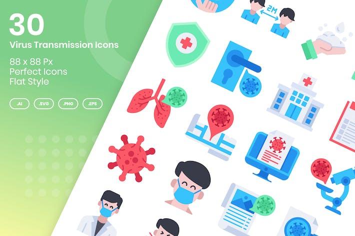 Thumbnail for 30 Íconos de transmisión de virus - Plano