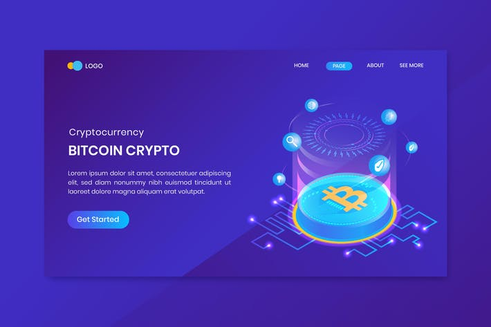 Isometric Bitcoin Cryptocurrency Landing Page