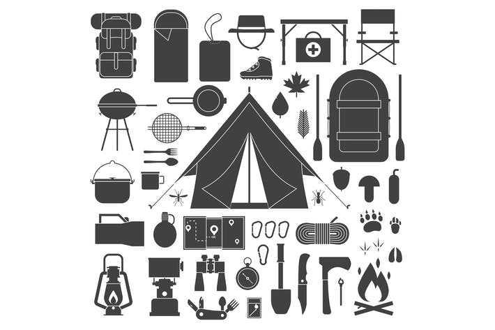 Thumbnail for Hiking and Camping Outline Elements Set