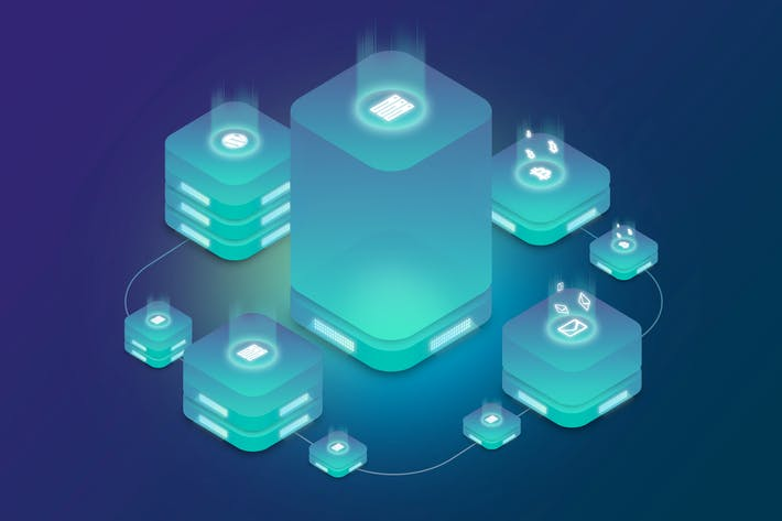 Isometric Ico Cryptocurrency Web Hosting Server  1